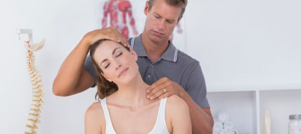 chiropractic-benefits-with-woman-receiving-neck-adjustment in Dallas, TX